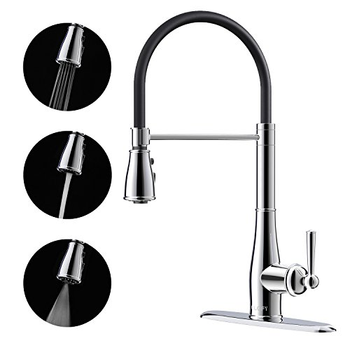 CLOFY Wasserhahn Küche, mischbatterie küche, küchenarmatur mit brause ausziehbar,drei Funktionen,Chrom