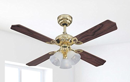 Westinghouse Ceiling Fans 78199 Princess Trio 105 cm Polished Brass Indoor Ceiling Fan, Light Kit with Frosted Glass…