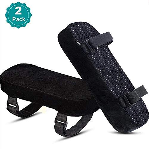 1 Paar Abnehmbare Armlehne Abdeckungen für Bürostuhl Elastische Universal-Kissen für Armlehnenschutz, Waschbar Stuhl Armlehne Pad Covers(Schwarz) (Schwarz, OneSize) -