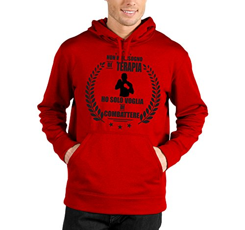 Felpa con cappuccio Non ho bisogno di terapia ho solo voglia di combattere - boxe - humor - sport - in cotone Rosso