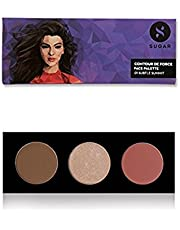 SUGAR Cosmetics Contour De Force Face Palette 01 Subtle Summit (Brown Grey Bronzer, Champagne Gold Highlighter, Soft Peach Pink Blush, 12 g)