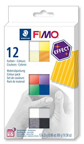 STAEDTLER FIMO Effect, ofenhärtende Modelliermasse, Set mit 12 Effekt-Farben, 8013 C12-1