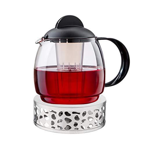 "Teekannen-Set \""Aura\"": 1,8 l Teekanne aus Glas inkl. Stövchen, 15 cm"
