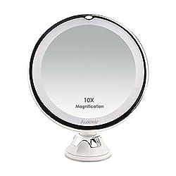 Auxmir Kosmetikspiegel LED Beleuchtet mit 10x Vergrößerung und Saugnapf, 360° Schwenkbar, Make-Up-Spiegel Schminkspiegel mit Blendfreier Beleuchtung für Zuhause und Unterwegs