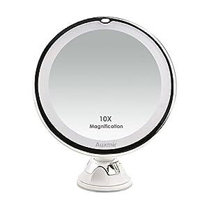 Auxmir Kosmetikspiegel LED Beleuchtet mit 10x Vergrößerung, Saugnapf und 2 Helligkeitsstufen, Makeup Spiegel Schminkspiegel mit Blendfreier Beleuchtung für Zuhause und Unterwegs