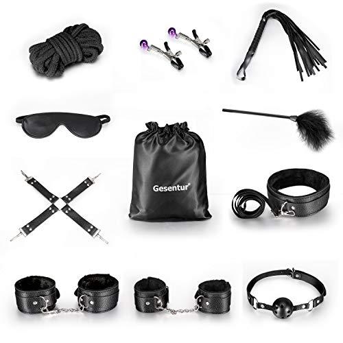 10Stk / Packung Bondage Sets, Sex Bondage Schwarz Sexy Leder New Adult Sex Toy Fetisch Fessel-Set für Schlafzimmer Fun, Underbed Bandage Restraint System, Sex Stimulation für Paar (Black)