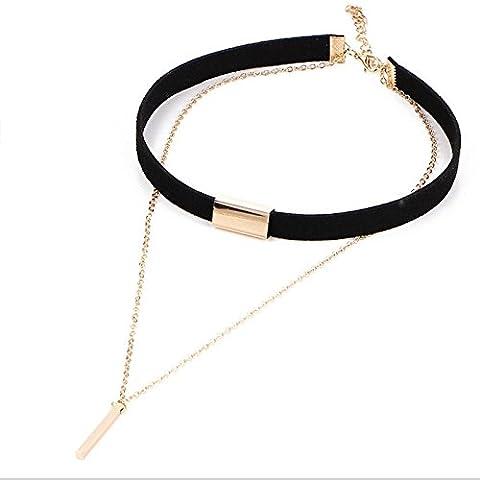 PinzhiSchwarze Samt-Legierungs-Ketten-Choker-Halsketten-mehrschichtige Charme-Metallstab-hängende Schellfisch-Kragen-Halsketten-Frauen-Art- und Weiseschmucksache-Geschenk-Zusätze