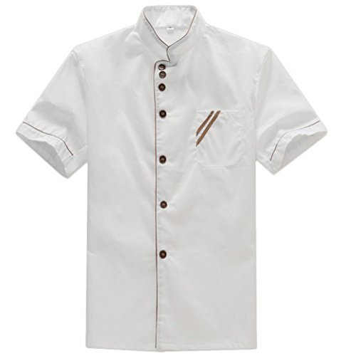 Nanxson(TM) Unisex Baumwolle Weiß Kurzarm Kochjacke mit knöpfen Kochkleidung Uniform Berufsbekleidung CFM0008 (X-L) (Uniform Küchenchef)