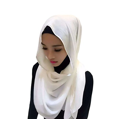 Meijunter Muslim Femmes perle Chiffon perceuse Couvercle de tête Islamic Écharpe Arabian Châle Hijab 12#