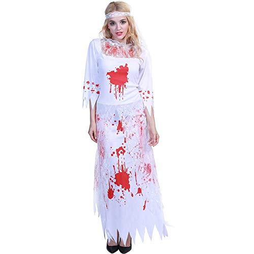 GLXQIJ Halloween Friedhof Braut Zombie Hochzeit Kostüm Leiche Kleid Damen Weiß Spitze Cosplay Kostümparty, Kleid & - Zombie Hochzeit Kostüm