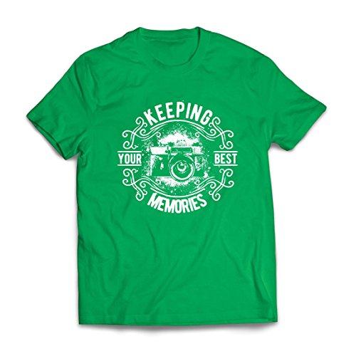 Lepni.me maglietta da uomo fotografo camera, foto - mantenere i tuoi migliori ricordi, amante della fotografia (small verde