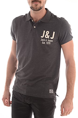 Jack & Jones Jack & Jones Casual Branded Moss Polo Shirt Dark Grey Dark Grey