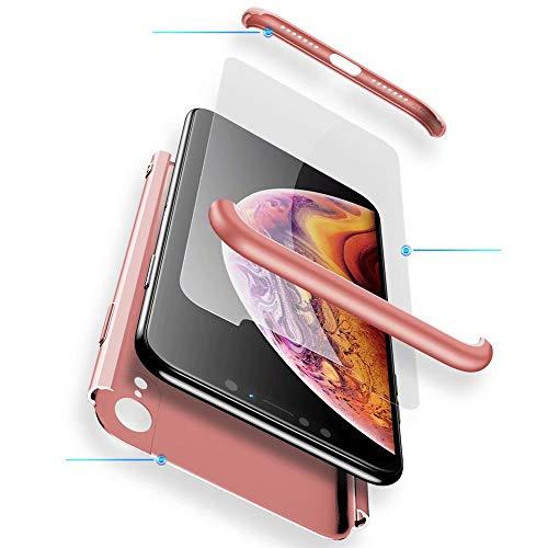 Huawei Honor 9 Lite Hülle, WYRHS Hardcase 3 in 1 Ultra Dünn 360 Full Cover Schutz Schutzhülle Anti-Kratzer Elegant Stoßfest Hart PC Case Handyhülle (Rosegold) + 1 Stück Schutzfolie