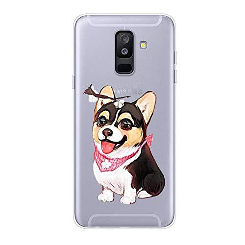 Uposao Kompatibel mit Samsung Galaxy A6 Plus 2018 Hülle Crystal Case Schutzhülle Hülle mit Muster Motiv Transparent TPU Silikon Durchsichtig Stoßfest Handyhülle Backcover Tasche,Hund