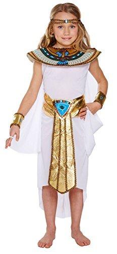 Disfraz infantil egipcio Niña Pequeño 4-6 AÑOS - CON VESTIDO CON DORADO Y truquoise Detalles y Dorado Cuello - apto para infantil Viejo 4-6 años - Niños Egipcio Disfraz Niña