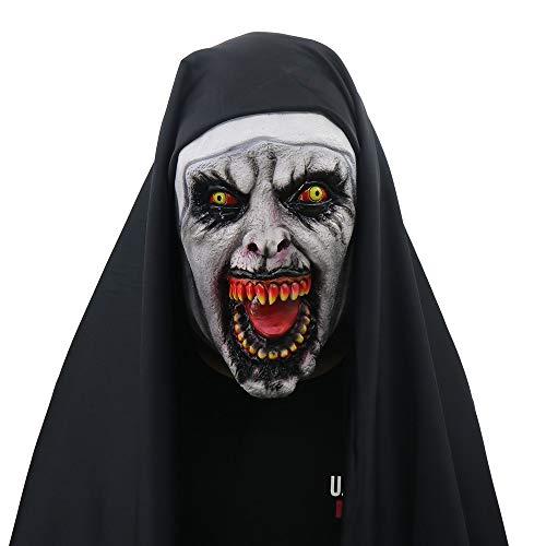Damen Gespenst Kostüm - QHJ Halloween Maske, Halloween Accessoires Halloween Stütze Kostüm Teufel Nonne Horror Maske Halloween Requisiten The Conjuring Nun Horror Masks Mit Wimple Kostüm (A)