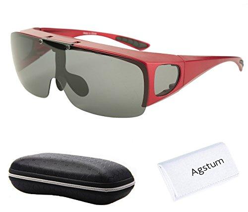 Agstum Herren Sonnenbrille Schwarz Red frame with grey lenses