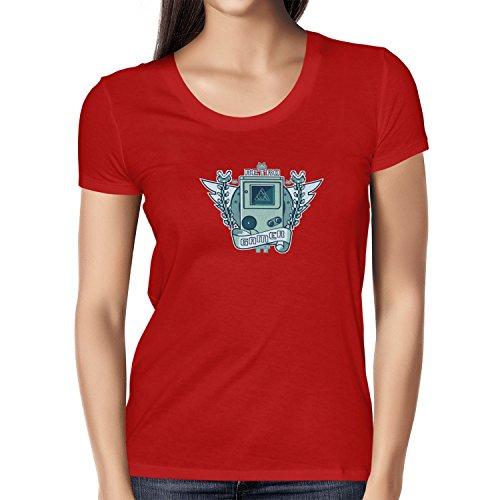 NERDO - Retro Gamer Logo - Damen T-Shirt, Größe L, rot