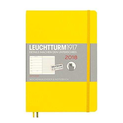 LEUCHTTURM1917 355103 Wochenkalender & Notizbuch 2018 Softcover, Medium (A5), Zitrone, Deutsch