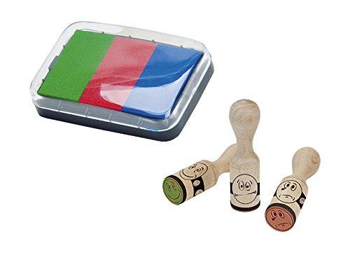 (Brunnen 1048692 Stempelset (Belohnung Smiley, 3 Motivstempel aus Holz, inkl. Stempelkissen mit 3 Farben))