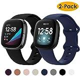 KIMILAR (2 Pack) Bandje compatibel met Fitbit Sense/Fitbit Versa 3 voor Vrouwen Meisjes, TPU Zachte Siliconen Band Sport Riem Armband compatibel met Fitbit Versa 3 / Fitbit Sense Smartwatch