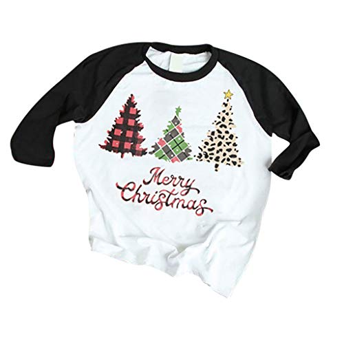 yazidan T-Shirt Damen Frauen Mädchen Weihnachten Rundhal Langarmshirt Weihnachtsbaum Merry Christmas Drucken Basic Fun Xmas Tops Tee Shirt Blusen Oberteile