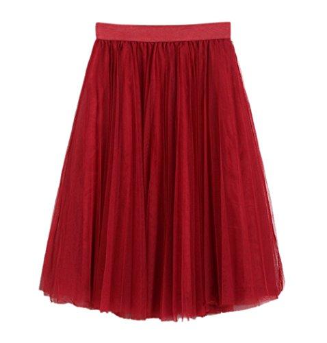 Dummy Kostüm Mädchen - URVIP Damen's Unterrock 50er Retro Tüllrock Tutu Petticoat Tanzkleid Rot One Size
