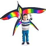 Cerf-volant en forme d'oiseau - idéal pour les enfants et les adultes - Facile à faire décoller par vent très fort ou par brise légère - 158 x 96.7 cm- Cordon de 100 mètres - Fabriqué pour durer