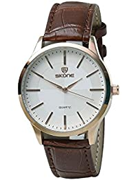 Skone 9343-man-2 Analog White Dial Leather Strap Wrist Watch / Casual Watch - For Men's