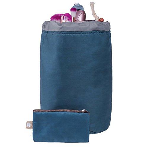 Contever® Multi Poches Spacieux Maquillage Sac Cosmétique Voyage Camping Toiletry Organizer Wash Cac de Rangement Sac de Voyage Sac Essential avec 1 x Petite Poche Zippée, 1x PVC Transparent Pouch