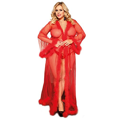 Plus Size Schiere Robe (HJG Dessous für Frauen Lace Kimono Robe Schiere langes Kleid durchsichtig Nachthemd, Mesh Chemise, Braut Dessous, Plus Size (rot),XXXL)