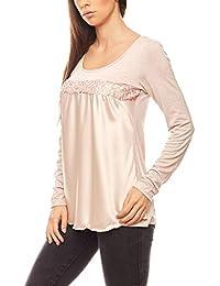 Linea TESINI figurumspielendes Damen Patch-Shirt Langarm-Shirt Trend-Shirt  Rosa 50be010781