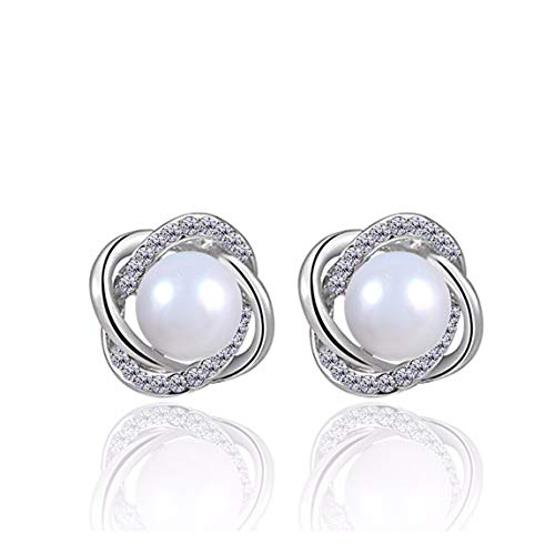MTWTM Reines Silber Ohr Nägel Ohrringe Fashion Pearl Frische Fashion Temperament, White Gold Tuba
