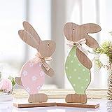 Victor's Workshop Osterdeko 2 Set 24cm Höhe Hasen Dekofiguren Frühlingsdeko Figuren Holz Kinder Spielzeug Dekofigur für Frühling MEHRWEG Verpackung Kaninchen & Bogen