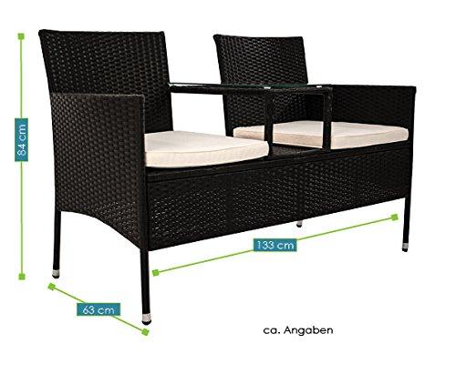 Polyrattan Gartenbank Monaco mit integriertem Tisch für 2 Personen - 6