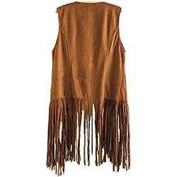 Cárdigan con flecos, chaleco de flecos bordados sin mangas, otoño invierno, mujer (Caqui, S)