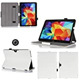Housse Samsung Galaxy Tab 4 10.1 pouces 16/32 Go blanche (Wifi/3G/4G/LTE) Ultra Slim Cuir Style avec multis stand - Etui luxe coque de protection Samsung Galaxy Tab 4 10 blanc SM-T530/T535 - Accessoires pochette XEPTIO : Exceptional case !