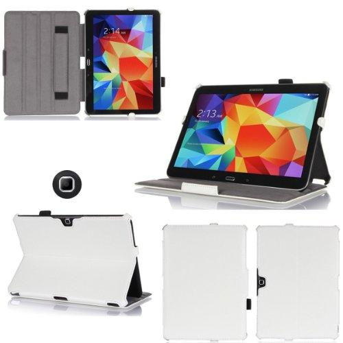 XEPTIO Bianco Custodia Pelle Ultra Slim per Samsung Galaxy Tab 4 10.1 pollici - Case Funda Cover protettiva Galaxy Tab 4 10 1 Tablet Wifi/4G/LTE (PU Pelle - Bianco/White) accessori