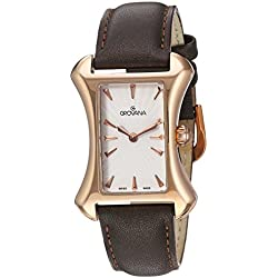 GROVANA 4422.1562 Women's Quartz Swiss Watch with White Dial Analogue Display and Black Leather Strap