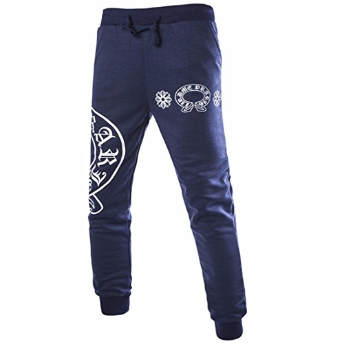 Men Casual Pants Printed Loose Style Hip Hop Trousers Navy blue