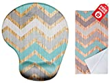 Vintage Chevron Ergonomic Design Mouse Pad with Wrist Support. Gel Hand Rest. Matching Microfiber Cleaning Cloth for Glasses, Cars & Electronics. Mouse Pad for Laptop, PC Computer and Mac.
