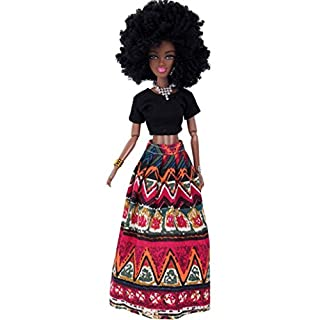 AmaMary African Dolls for Girls Lovely Baby Movable Joint African Doll Toy Black Doll Best Gift Toy (Red)