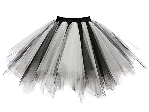 Facent Mujer Adultos Cortas Tutu Falda Tul Enaguas para Disfraz Halloween Negro Blanco