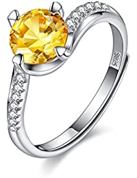 BALANSOHO 1.25Ct Yellow CZ Solitaire Rings Women Eternity Rings 925 Sterling Silver Anniversary Rings Resizable