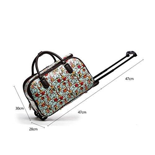 LeahWard Frauen Girl's Holdall Faux Leder Gepäck Tasche Hand Gepäck Reise Koffer Urlaub Taschen CW01 (S Schwarz Eule) S Hellblau Eule