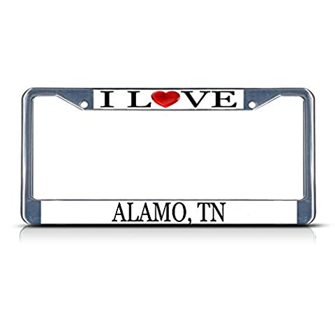 License Plate Frame I Love Heart Alamo, Tn Aluminum Metal License Plate Frame