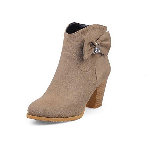 AllhqFashion Damen Niedrig-Spitze Hoher Absatz Rund Zehe Stiefel mit Schnalle, Aprikosen Farbe, 36