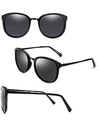 2DAWANG  Gafas de Sol New Fashion Retro Frame Tide Female Essential (Color : Bright Black-A)