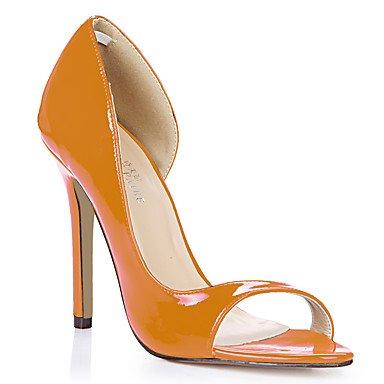 LvYuan Damen-Sandalen-Büro Kleid Lässig-PU-Stöckelabsatz-Komfort-Schwarz Blau Gelb Rosa Lila Rot Weiß Oberfläche Light Purple Dunkelblau Orange Orange