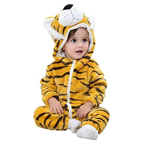 Tiger Kuscheliger Kostüm Baby - Baby Flanell Strampler Pyjama Mit Kapuze Mädchen Jungen Cartoon Romper Outfits Spielanzug Herbst Winter Flanell Overalls Jumpsuit
